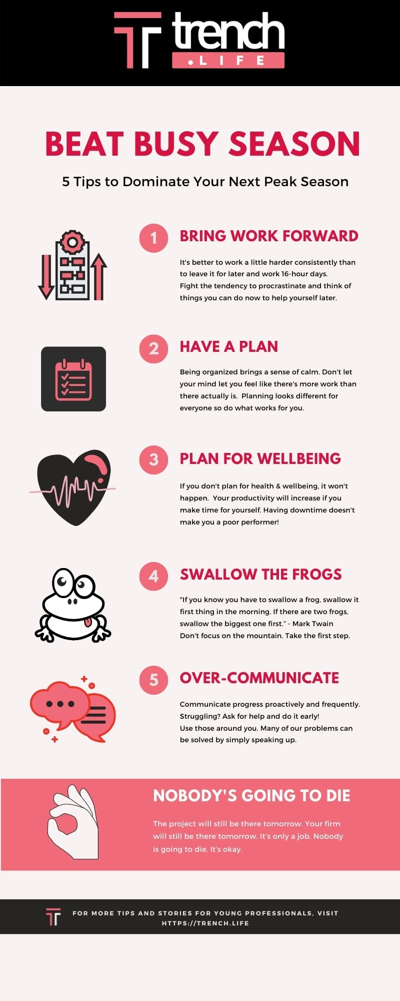 Beat Busy Season - tips for preparing for peak season. Infographic by Trench.Life